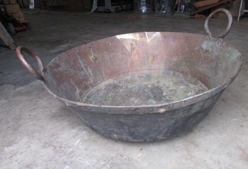 Antique Large Mexican Copper Bowl-Old Cazo-Rustic-Primitive-28Wx10D-HUGE-Beauty