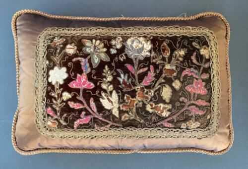 Custom 19TH CENTURY AUTHENTIC FRENCH TAPESTRY PANEL PILLOW ~ FLORAL NEW