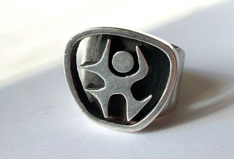 Heavy Solid Silver Modernist Dancing Human Mid Century Ring Size 7