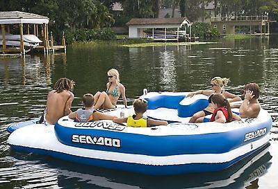 Sea-Doo 8 Person Inflatable Mega Island Lake Float w/ 4 Speaker Music -