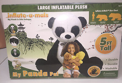 NIB Giant Plush Inflatable Panda Pal Stuffed Animal Toy Blow Up Inflate A Mals  - Blowing Up A Whale