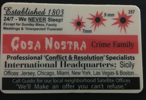 Cosa Nostra Mafia Mob Crime Family Gangster novelty ID Card Godfather Capone