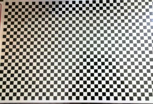 Dollhouse Miniature Tile Flooring Black & White Checked Squares 1:12 Scale Floor