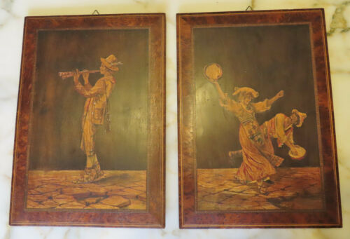 """PAIR ANTIQUE MARQUETRY WOOD INLAY PICTURES 14.1/2"""" x 10 1/4"""""""