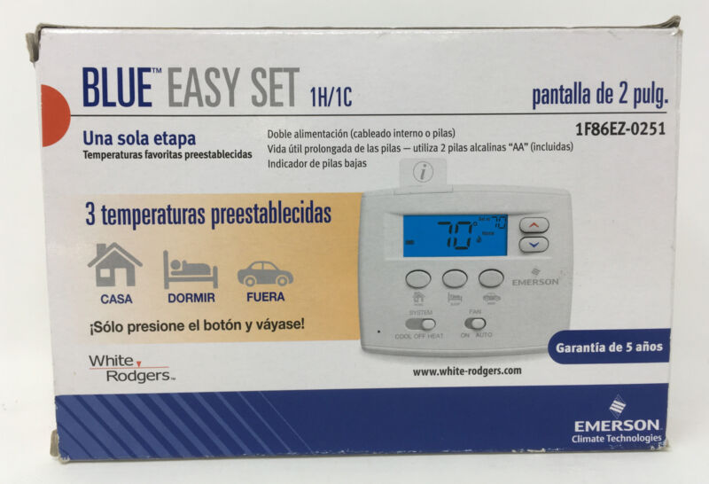 Emerson Blue Easy Set Non-Programmable Thermostat 1F86EZ-0251 2F