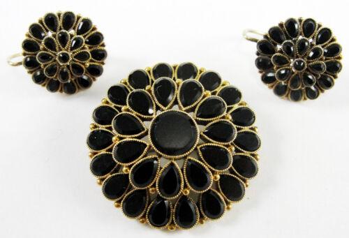 Victorian 14K Rose Gold Black Onyx Pendant Brooch Earrings Set Mourning Jewelry