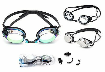 Adult Swimming Goggles Anti Fog UV Protect Adjustable Strap Nose Piece with (Goggles With Nose Piece)