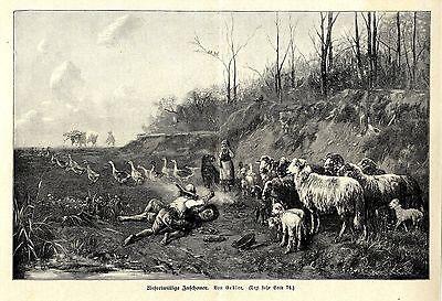 Balgerei mit unfreiwilligen Zuschauern  Künstlergraphik Holzstich um 1897