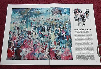 1966 Magazine Art Page Article Leroy Neiman The Royal Ascot Horseracing Track