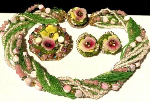 Rare Vintage Miriam Haskell Pink Green Art Glass Flower 3 Pc Set A30