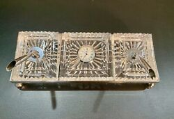 VINTAGE Waterford Crystal EXECUTIVE PEN and CLOCK DESK SET w/ Metal Stand