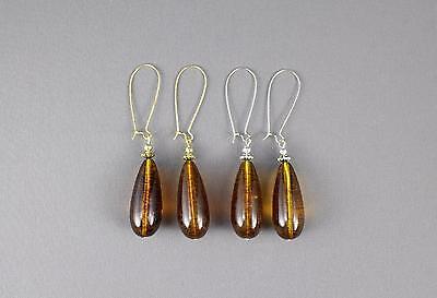 amber brown teardrop earrings oval pendant dangle drop 3.25