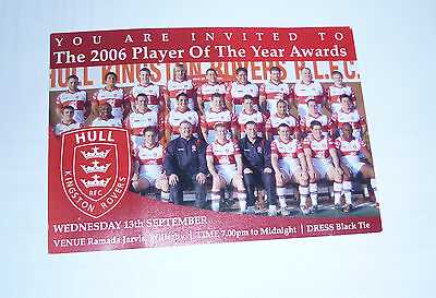 HULL K R 2006 PLAYER OF THE YEAR AWARDS 13th SEPTEMBER @ RAMADA JARVIS TICKET