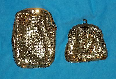 1940 50s Duramesh Change Purse & Cigarette Case Metal Mesh Goldtone