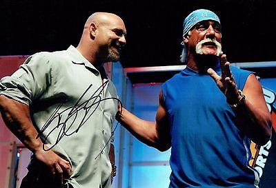 Bill GOLDBERG Wrestler SIGNED Autograph 12x8 Photo with Hulk HOGAN AFTAL COA