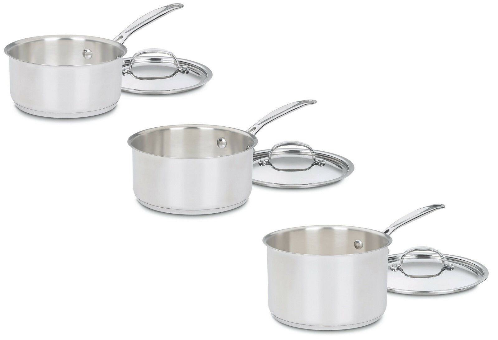 Cuisinart Chef's Classic Stainless Sauce Pans with Covers, 5