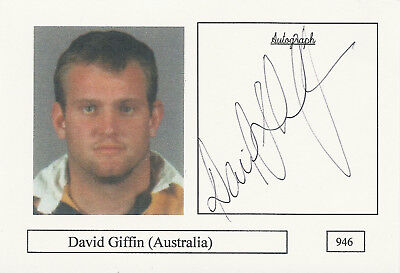 David Griffin AUSTRALIA RUGBY INTERNATIONAL SIGNED PHOTO CARD Griffin Rugby