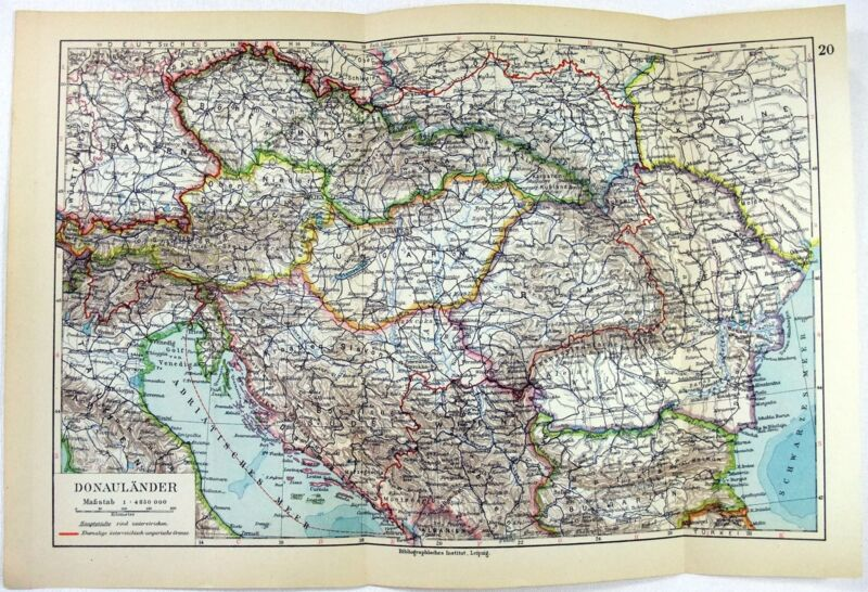 Original 1928 Map of The Danube Countries by Meyers. Vintage