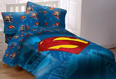 Superman Full Comforter (Licensed DC Comics Superman Emblem 5 Piece Reversible Full Size Comforter Set )