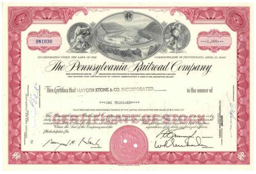 Pennsylvania Railroad Co. Horseshoe Curve. Stock Certificate. Red 1,000 shares