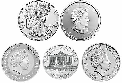 Lot of 5 - 2016 1oz Silver Coins from Around the World