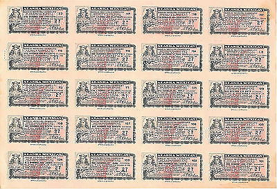Vintage Sheet Of 20  500 Share Certificates In The Alaska Mexican Gold Mining Co