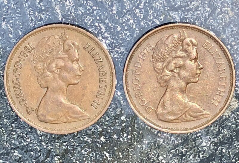 1975/81 Cameo NEW  2 PENCE British Elizabeth II Coins D.G.REG.F.D. Pre 1983 RARE