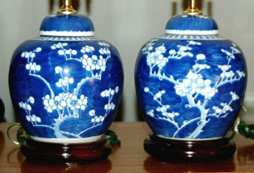 Chinese Hawthorn Antique GINGER JAR Lamps PAIR Blue & White Prunus (3Y)