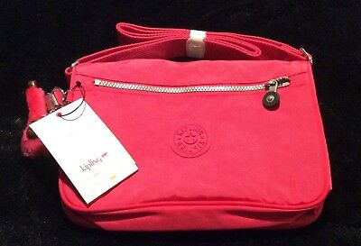 "Kipling Callie Vibrant Pink Crossbody Bag 10.5"" X 7.5""X 4.3"" NWT Free Shipping"