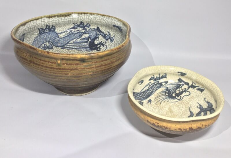 Antique Gold Tea Dust Crackle Glaze Ming to Qing Dynasty Dragon Bowl Pair