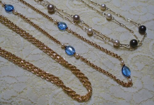 GOLD TONE MULTI STRAND CHAIN BLUE LUCITE FAUX PEARL BEADED STATION NECKLACE LOT