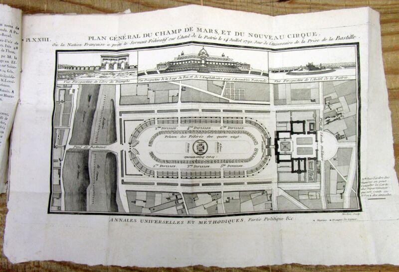 Best 1792 Paris FRANCE w 1st engraving Plan for CHAMP DE MARS & ARC DE TRIOMPHE