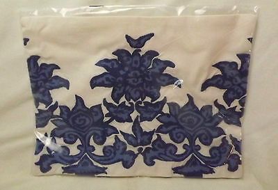 "NWT Williams-Sonoma Chinoiserie Blue Lotus Embroidered Pillow Cover 12"" x 16"""