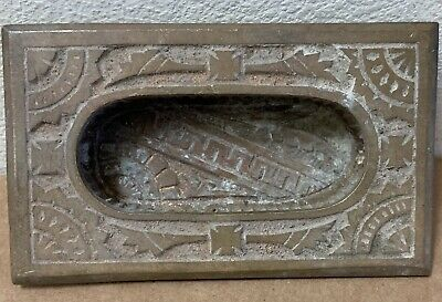 Antique Recessed ornate pocket pull door drawer flush plate Brass metal flush