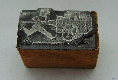 Vintage Printing Letterpress Printers Block Man Running With Push Cart