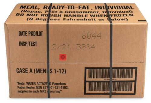 12ct case MRE Meals Ready-to-eat US Military Surplus A Menus 1-12, 2021-inspect
