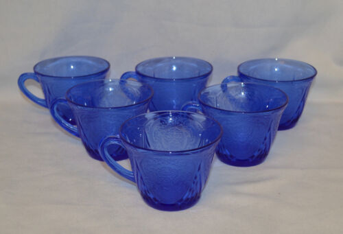 2 Beautiful Hazel Atlas Cobalt Blue Royal Lace Cups  - 3 Lots Available