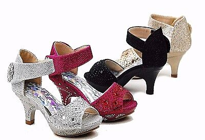 Girls JR Heels Sparkling Jewel Rhinestone Pageant Sunday Dress Shoes Sandals  (Girls Pink Pageant Shoes)