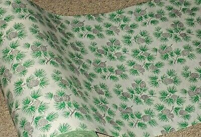 VTG CHRISTMAS 1940 WW2 WRAPPING PAPER 2 YARDS SILVER PINE CONES AND BRANCHES NOS