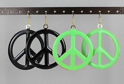 enamel painted big Peace Sign hoop dangle earrings hoops lightweight 3