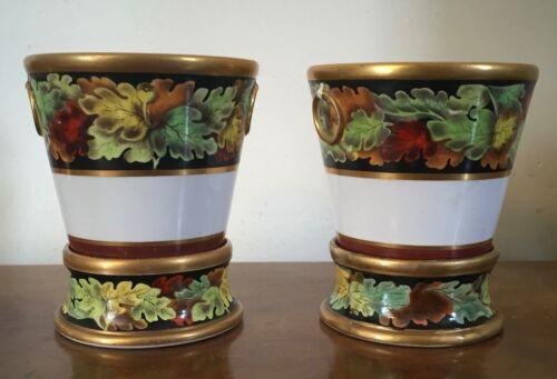 Pair Regency Porcelain Cachepot Flower Pot Jardiniere Spode Coalport 19th c.