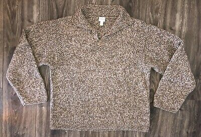 Armani Collezioni Collection Brown White Knit Collared Sweater Wool Blend Large