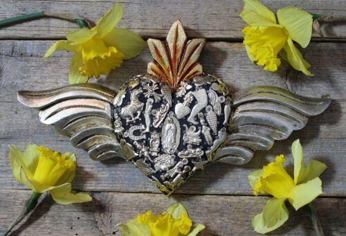 Wood Heart Silver Wings & Milagros Handmade Miracle Mexican Folk Art Michoacán