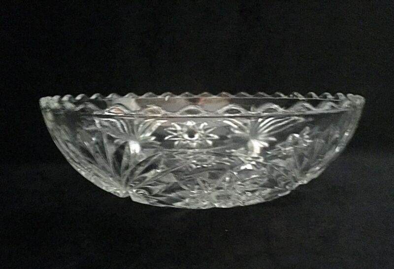 Vintage Crystal Cut Glass Bowl Star Burst Pattern
