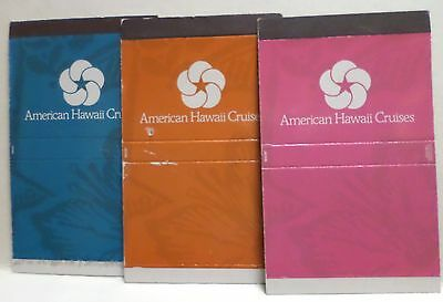 3 American Hawaii Cruises   Match Box Covers   Ocean Liner Cruise Ship Sea Boat