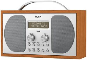 Bush Bluetooth Wooden Retro Style Portable DAB & FM Digital Radio Alarm Clock