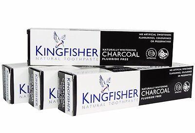 Kingfisher Natürlich für Weißere Holzkohle Toohpaste 100ml (Pack 4) ohne Fluorid