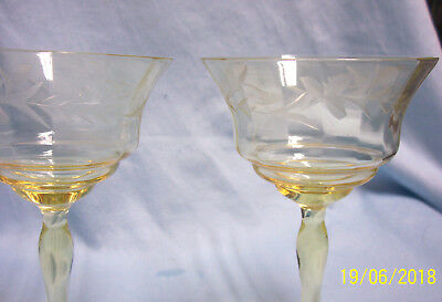 Pair Amber Clear Depression Glass Panel Long Stem Champagne Glass Etched Design