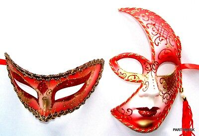 MASQUERADE HALLOWEEN HIS & HERS RED GLITTER MEN'S HALF AND LADIES SPLIT FACE ()