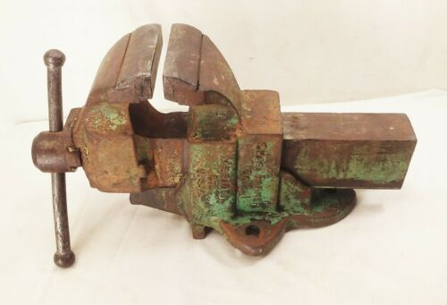 """Vtg antique Chas chase parker no.954 large bench vise 4"""" jaws cast iron 46 lbs"""